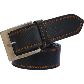 Sunshopping men's black leatherite needle pin buckle belt (PSD-TB-TWN) (Synthetic leather/Rexine)