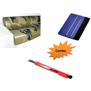 Combo Kit of 12x24 inches 3D Military Carbon Fiber Vinyl Wrap Sheet Roll + Squeegee vinyl wrap application tool + Cutter
