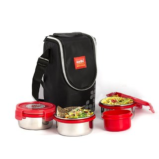 Cello Max Fresh Click Steel Lunch Box Set 4-Pieces Red