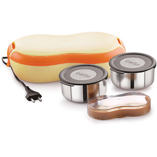Cello ATOM 2 Container Electric Lunch Box-Beige