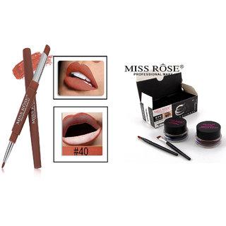 Miss Rose Combo 2 in 1 Waterproof Lipstick/Lipliner Shade  - 40 And Miss Rose Gel Eyeliner