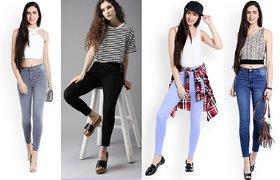 EverDiva Women Slim  Blue, Grey, Ice Blue  Black denim Fit Ankle Length Jeans   (Pack of 4)