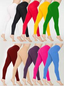Colorbox Multicolor Cotton Lycra Leggings (Set of 10)