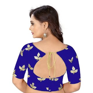 ca4cf6f15519b8 Dwarkesh Fashion Blue Bangalore Silk Embroidered Work Unstitched Blouse For  Women (df-mapple.