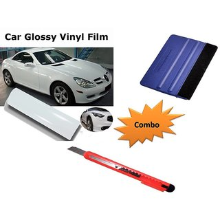 Combo Kit of 24x50 inches Glossy White Vinyl Wrap Sheet Roll + Squeegee vinyl wrap application tool + Cutter