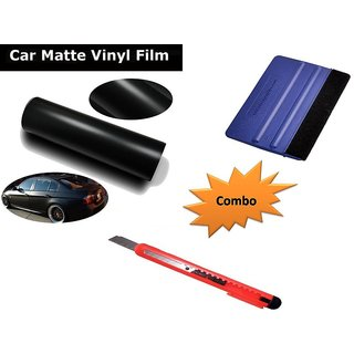 Combo Kit of 24x50 inches Matte Black Vinyl Wrap Sheet Roll + Squeegee vinyl wrap application tool + Cutter