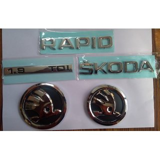 Skoda RAPID NEW car Monogram Emblem Chrome Skoda Car Monogram Logo Emblem DECAL