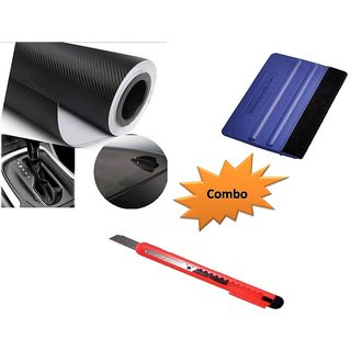 Combo Kit of 24x100 inches 3D Black Carbon Fiber Vinyl Wrap Sheet Roll + Squeegee vinyl wrap application tool + Cutter