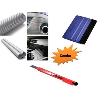 Combo Kit of 24x50 inches 3D Silver Carbon Fiber Vinyl Wrap Sheet Roll + Squeegee vinyl wrap application tool + Cutter