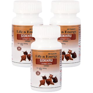 Life N Energy Pure Ayurvedic Gokhru Extract 500 mg capsules 180 capsules 3 pack