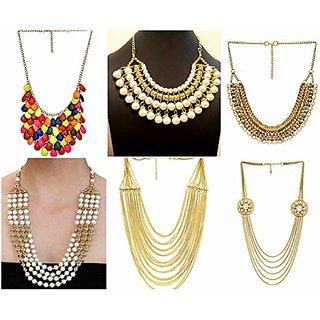 Sparkle Oxidised Multicolor Alloy Necklace Set For Women