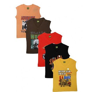 Kavin's Stylish Sleeveless Trendy looking Cotton kids T-Shirt, Pack of 5, Multicolored, Combo Pack