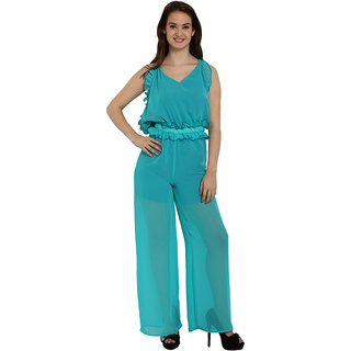 2ba497a73c2 Buy Fascinating Cyan Ruffle Trim Strappy Sheer Leg Jumpsuit Online - Get 53%  Off