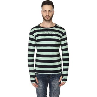 Mr. Stag Men's Round Neck Green Striped Thunmhole Full Sleeves T-Shirt Medium