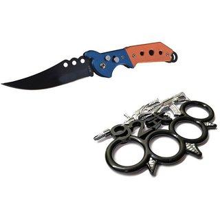 prijam Pocket Knife F-832 (21cm) Model & SBG-92 Model Knuckle Punch Pack of 2 Products