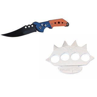 prijam Pocket Knife F-832 (21cm) Model & H-Cross Fire S Model Knuckle Punch Pack of 2 Products