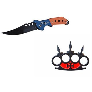 prijam Pocket Knife F-832 (21cm) Model  CH-48 Model Knuckle Punch Pack of 2 Products