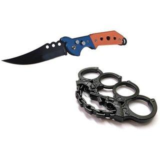 prijam Pocket Knife F-832 (21cm) Model & Black Gun Model Knuckle Punch Pack of 2 Products
