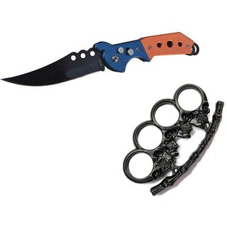 prijam Pocket Knife F-832 (21cm) Model & BHKP-76 Model Knuckle Punch Pack of 2 Products