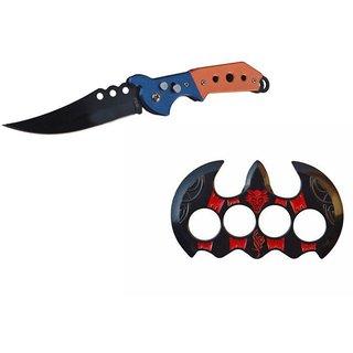 prijam Pocket Knife F-832 (21cm) Model & Batman-R Model Knuckle Punch Pack of 2 Products