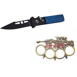 prijam Pocket Knife F-304 (16cm) Model & Top Model Knuckle Punch Pack of 2 Products