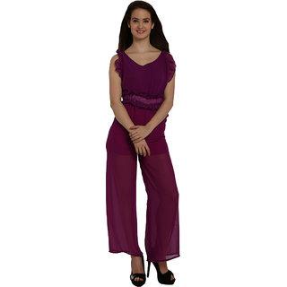 Fascinating Purple Ruffle Trim Strappy Sheer Leg Jumpsuit