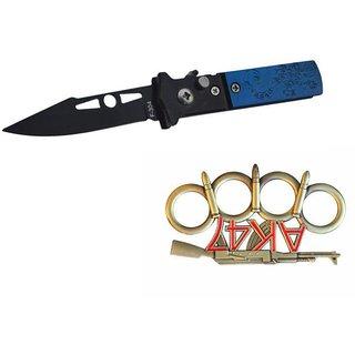 prijam Pocket Knife F-304 (16cm) Model  Ak-47 Model Knuckle Punch Pack of 2 Products