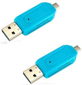 Oxza USB 2.0 + Micro USB OTG SD T-Flash Adapter for Cell Phone PC Card Reader  (Blue)