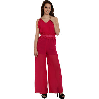 Fascinating Red Ruffle Trim Strappy Sheer Leg Jumpsuit