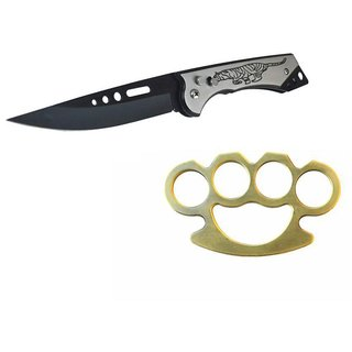 prijam Pocket Knife A-13 (22cm) Model & DH Brass Model Knuckle Punch Pack of 2 Products