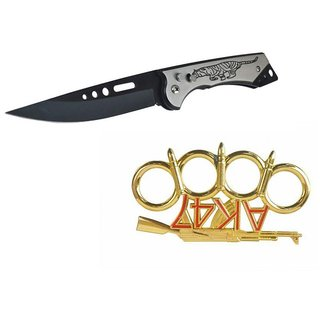 prijam Pocket Knife A-13  (22cm) Model & Ak-47-G Model Knuckle Punch Pack of 2 Products