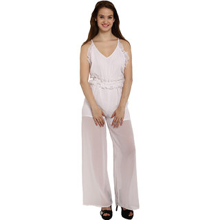 87e780e9130 Buy Fascinating White Ruffle Trim Strappy Sheer Leg Jumpsuit Online - Get 53%  Off