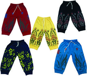 Om Shree Girls Printed Rib Pant Pack of 5