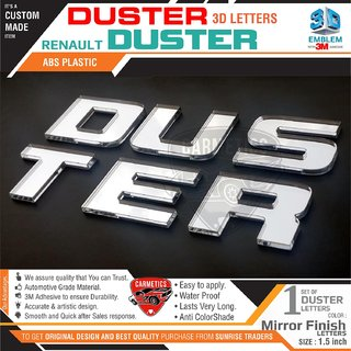 CarMetics 3D Car Stickers Accessories Mirror Finish Duster 3D Letters for Renault Duster Car, Free Gang of Dusters Sti