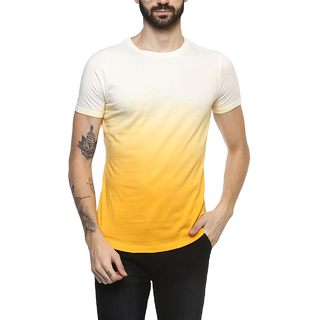 Urbano Fashion Men's Yellow Cotton Ombre Dyed Slim Fit T-Shirt