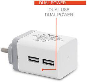 Orenics 2.0 Amp High Speed Dual Port Travel Charger with cable (White,Grey)