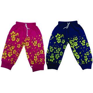 Om Shree Girls Printed Rib Pant Pack of 2