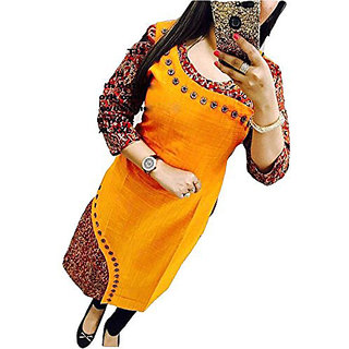 Holyday Women Party Wear Digital Printed Stylish Ready Made Cotton Selfie Kurti Yellow Color Full Stitched