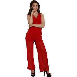 Fascinating Red Tie Waist Wide Leg Jumpsuit