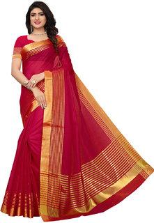 Swaron Red Cotton Silk Gold stripes Kota Doria Saree