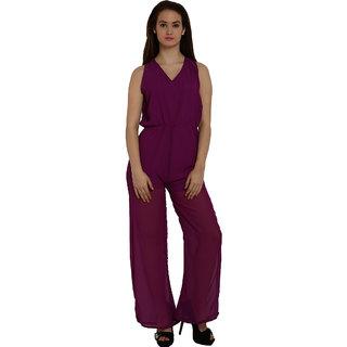 Fascinating Purple Tie Waist Wide Leg Jumpsuit