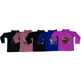 Om Shree Boys And Girls High Neck Tees Pack of 5