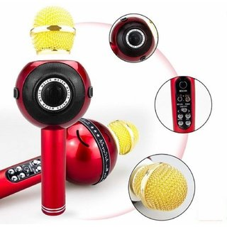 Tech Gear Wireless Bluetooth Recording Microphone Portable Karaoke Mic Bluetooth Speaker Wireless Microphone Red
