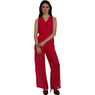 Fascinating Pink Tie Waist Wide Leg Jumpsuit