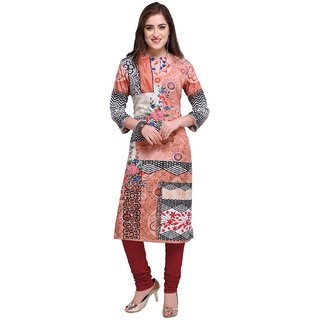 Envy9 Casual Peach Printed Polyester Crepe Kurti