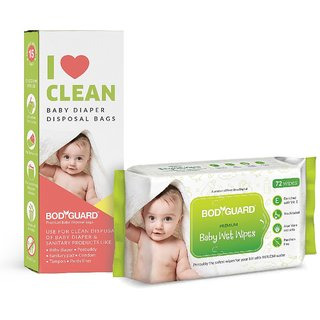 ab6a11a493 Buy BodyGuard Baby Wet Wipes - 72 Pcs with Baby Diaper Disposal Bags - 15  Pcs Online @ ₹298 from ShopClues