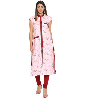 Meia Women's Pink Digital Novelty Print Straight Casual Wear Kurta With Taseels