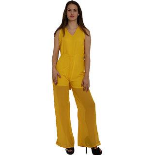 Fascinating Yellow Tie Waist Wide Leg Jumpsuit