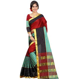 Red Color Banarasi Art Silk Jacquard Saree (Aura Saree 101 Red Black)
