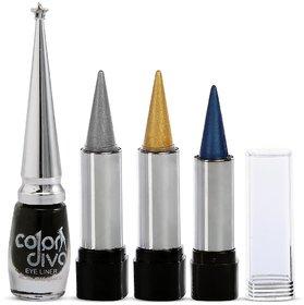 Color Diva Silver, Gold  Blue Kajal With Black Eyeliner Set of 4 GC591-By Adbeni
